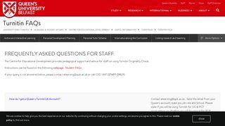Turnitin FAQs | Academic & Student Affairs | Queen's University Belfast
