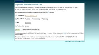 UKB : Login to Participant Section