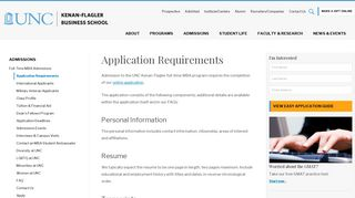 Application Requirements - Full-Time MBA - UNC Kenan-Flagler ...