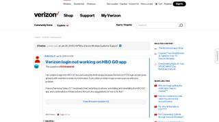 Verizon login not working on HBO GO app | Verizon Community