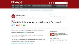 Gain Administrator Access Without a Password | PCWorld