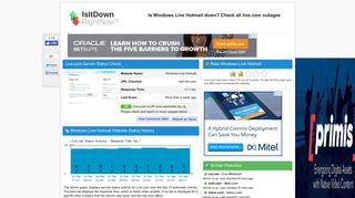 Live.com - Is Windows Live Hotmail Down Right Now?