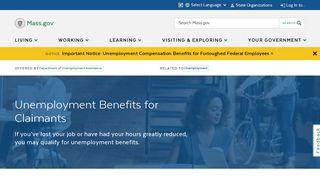 Unemployment Benefits for Claimants | Mass.gov