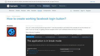 How to create working facebook login button? — Xamarin Community ...