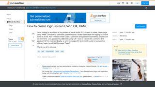 How to create login screen UWP, C#, XAML - Stack Overflow
