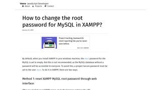 How to change the root password for MySQL in XAMPP? - Veera Sundar