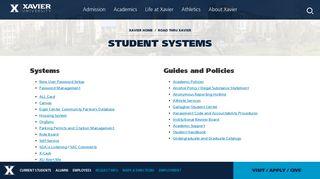 Student Systems   Xavier University