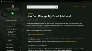 How Do I Change My Email Address? | World of Tanks XBOX