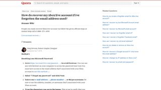 How do recover my xbox live account if ive forgotten the email ...