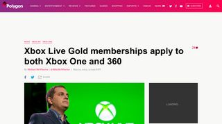 Xbox Live Gold memberships apply to both Xbox One and 360 - Polygon