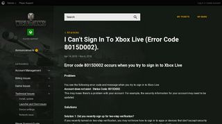 I Can't Sign In To Xbox Live (Error Code 8015D002). | World of ...