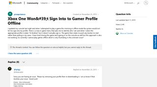 Xbox One Won't Sign Into to Gamer Profile Offline - Microsoft ...