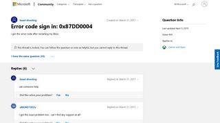 Error code sign in: 0x87DD0004 - Microsoft Community