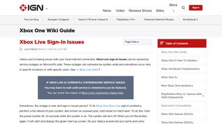 Xbox Live Sign-In Issues - Xbox One Wiki Guide - IGN