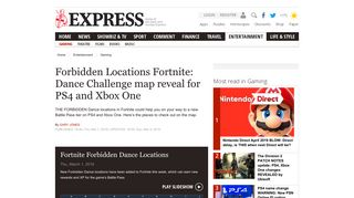 Forbidden Locations Fortnite: Dance Challenge map reveal for PS4 ...