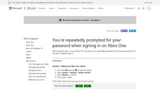 Repeated Password Prompts on Xbox One - Xbox Support