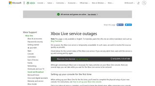 Xbox Live Service Outages | Xbox One - Xbox Support