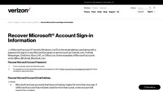 Recover Microsoft Account Sign-in Information | Verizon Wireless