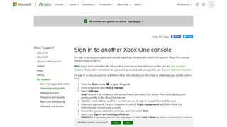 Sign In to Another Xbox One Console - Xbox Support