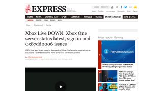 Xbox Live DOWN: Xbox One server status latest, sign in and ...
