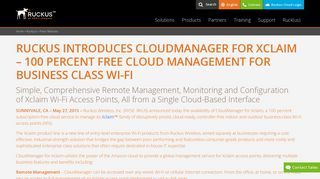 Ruckus Introduces CloudManager for Xclaim – 100 Percent Free ...