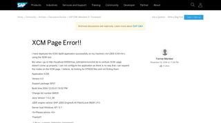 XCM Page Error!! - archive SAP