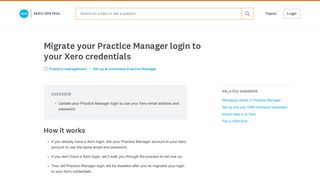 Migrate your Practice Manager login to your Xero credentials