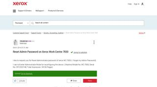 Solved: Reset Admin Password on Xerox Work Centre 7830 - Customer ...