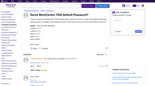 Xerox WorkCentre 7545 Default Password? | Yahoo Answers