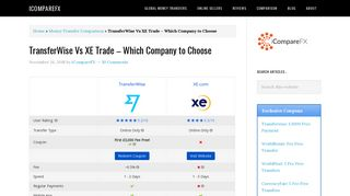 XE Vs TransferWise-Comparison between Two Best Money Transfer ...