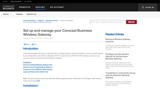 Set up and manage your Comcast Business Wireless Gateway ...