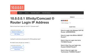 10.0.0.0.1 Xfinity/Comcast ® Router Login [Official]