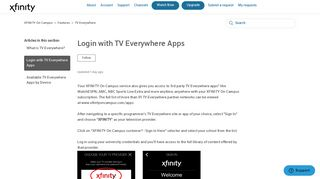 Login with TV Everywhere Apps – XFINITY On Campus