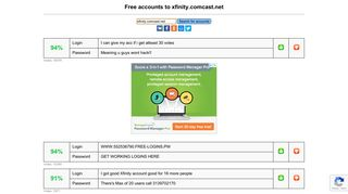 xfinity.comcast.net - free accounts, logins and passwords