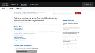 Retrieve or change your Comcast Business My Account username or ...