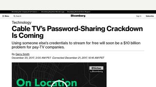 Cable TV's Password-Sharing Crackdown Is Coming - Bloomberg