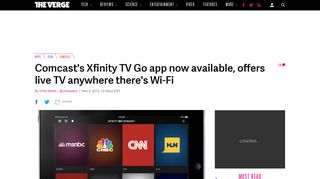 Comcast's Xfinity TV Go app now available, offers live TV anywhere ...