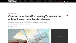 Comcast launches $18 streaming TV service for broadband customers ...