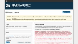 FDA industry systems - Accounts management