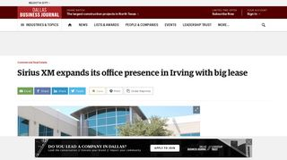 Sirius XM expands its office presence in Irving with big lease - Dallas ...