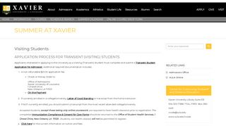 Visiting Students - Xavier University of Louisiana
