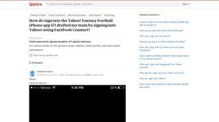 How do sign into the Yahoo! Fantasy Football iPhone app if I ...