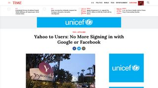 Yahoo to Users: No More Signing in with Google or Facebook | Time