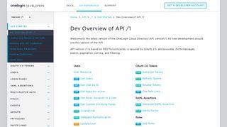 Dev Overview of API /1 - OneLogin Developers