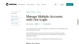 Manage Multiple Accounts with One Login - MailChimp