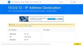 10.0.0.12 - No unique location - Private network - IP address ... - DB-IP