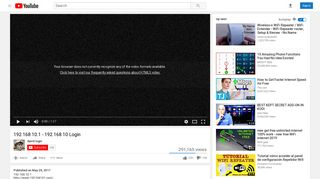 192.168 10.1 - 192.168 10 Login - YouTube