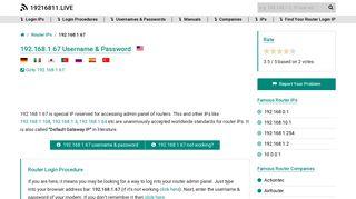 192.168.1.67 Username & Password - 19216811.live