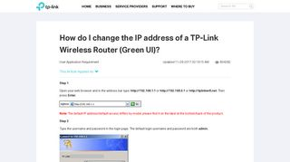 How do I change the IP address of a TP-Link Wireless Router (Green ...