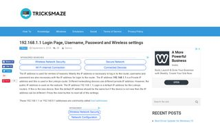 192.168.1.1 Login Page, Username, Password and Wireless settings ...